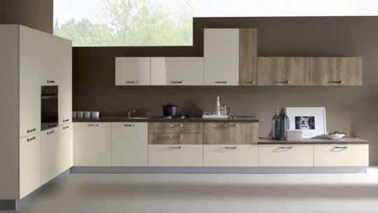 cucina modello kira ad angolo completa di elettrodomestici con ante in essenza opache e possibilità di laminati lucidi