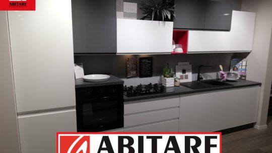 cucina modello kelly in bianco lucido e antracite grigio di metri 3,90